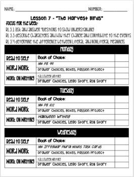 Reading Menu EDITABLE for Daily 5 Checklist