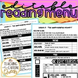 Reading Menu EDITABLE for Daily 5 Checklist
