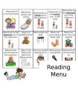 Reading Menu (Editable, Word Document)