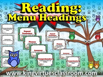 Reading: Menu Headings for Reading Strategies or Skills - Owls Theme