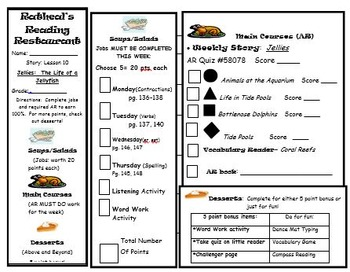 Reading Menu Journeys Lesson 10