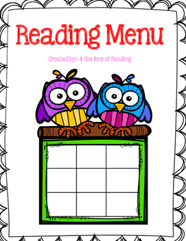 Reading Menu with Rubrics