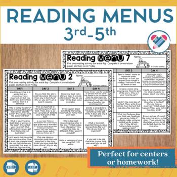 Reading Menus 3rd-5th