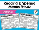 Reading Menus and Spelling Menus Bundle
