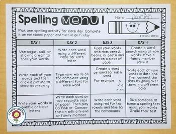 Reading Menus and Spelling Menus Bundle