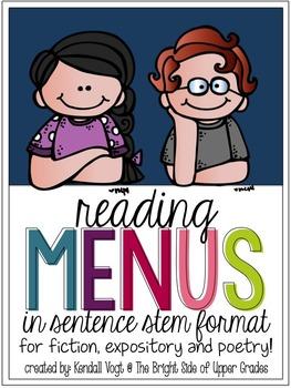 Reading Menus [in Sentence Stem Format]