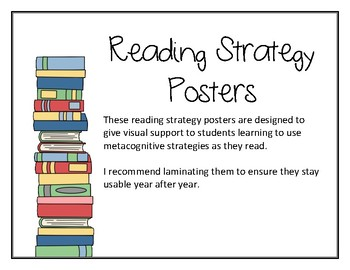Reading Metacognition Strategy Posters