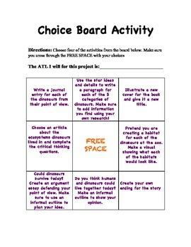 Reading Milestones Giants of the Past Choice Board Activity