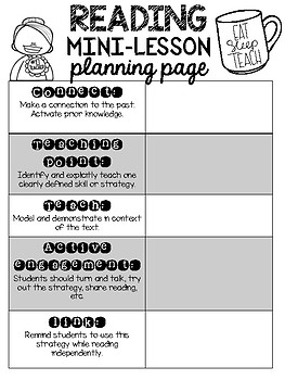Reading Mini Lesson Planning Page