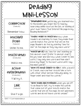 Reading Mini-lesson Template & Other Reading Workshop Forms (editable)