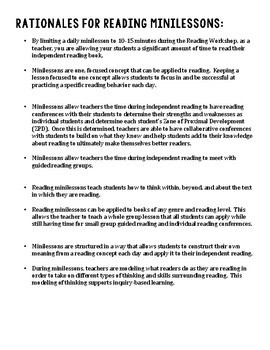 Information About Reading Minilessons and Reading Workshop in Middle School