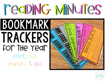 Reading Minutes Bookmark Trackers >>for the year!