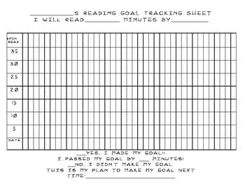 Reading Minutes Goal Tracking Sheet