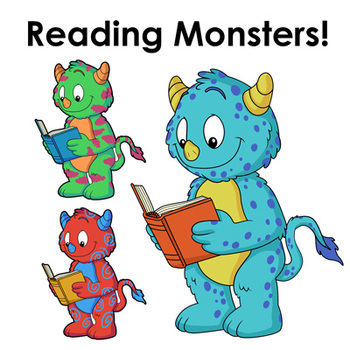 Reading Monsters! Monsters Reading Books Clip Art for Commercial Use