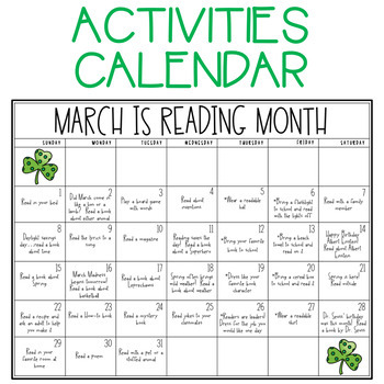 Reading Month Calendar & Reading Logs