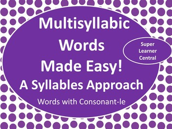 Reading Multisyllabic Words With Consonant -le