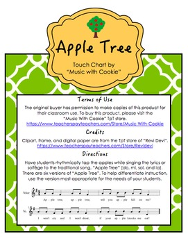 "Reading Music: ""Apple Tree"" Touch Chart Version 2"