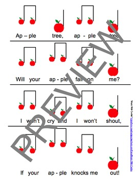 """Reading Music: """"Apple Tree"""" Touch Chart Version 3"""