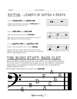 Reading Music - Bass Clef