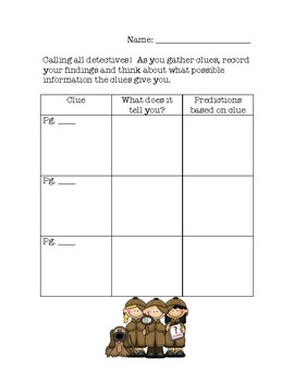 Reading Mysteries Graphic Organizers