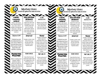 Reading Mystery Choice Board (Common Core Aligned)