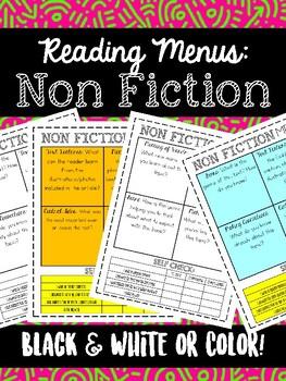 Reading NON FICTION Menus