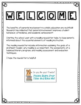 Reading Newsletter for Parents