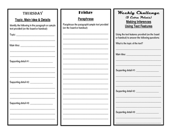 Reading Nonfiction Bellwork Template