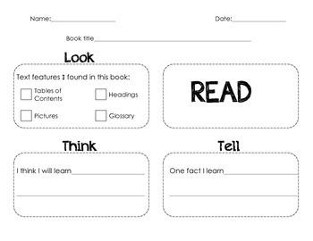 Reading Nonfiction Text Graphic Organizer