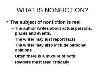 Reading Nonfiction: Types and Purpose Powerpoint