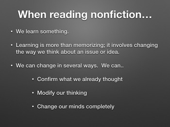 Reading Nonfiction:  What Changed, Challenged, or Confirmed Your Thinking