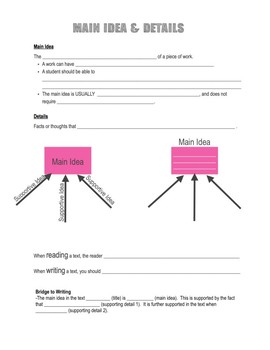 Reading Note Page: Main Idea and Details