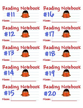 Reading Notebook Labels - Printable on Avery 5163