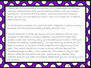 Reading Notebook Pages for Reading Skills and Strategies