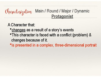 Reading Notes/ Lessons: Characterization/ Character Analysis