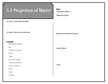 Reading Notes corresponding   CK-12 Chemistry - Intermediate Matter and Change