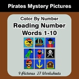 Reading Number Words 1-10 - Color By Number - Pirates Mystery Pictures