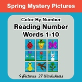 Reading Number Words 1-10 - Color By Number - Spring Myste