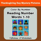 Reading Number Words 1-10 - Color By Number - Thanksgiving
