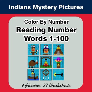 Reading Number Words 1-100 - Color By Number - American Indians Mystery Pictures