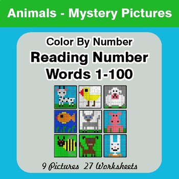 Reading Number Words 1-100 - Color By Number - Animals Mystery Pictures