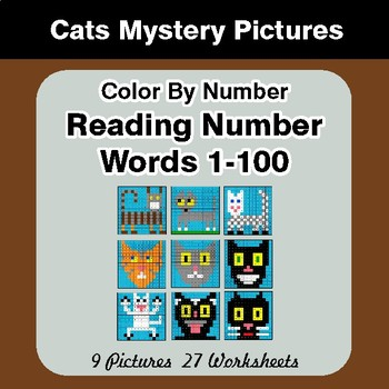 Reading Number Words 1-100 - Color By Number - Cats Mystery Pictures
