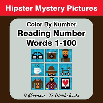 Reading Number Words 1-100 - Color By Number - Hipsters Mystery Pictures