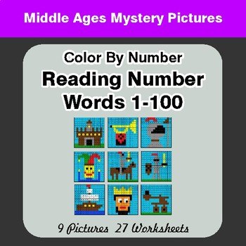 Reading Number Words 1-100 - Color By Number - Middle Ages Mystery Pictures