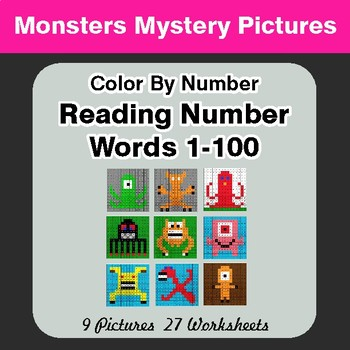 Reading Number Words 1-100 - Color By Number - Monsters Mystery Pictures