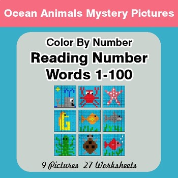Reading Number Words 1-100 - Color By Number - Ocean Animals Mystery Pictures