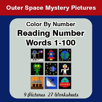 Reading Number Words 1-100 - Color By Number - Outer Space Mystery Pictures