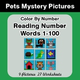 Reading Number Words 1-100 - Color By Number - Pets Myster