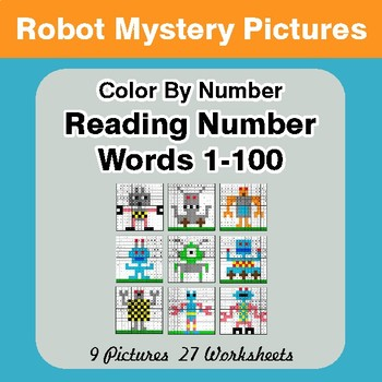 Reading Number Words 1-100 - Color By Number - Robots Mystery Pictures