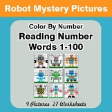 Reading Number Words 1-100 - Color By Number - Robots Myst